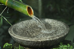 Real water fountain. From cutting bamboo Stock Photography