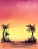 Real watercolor background. Dark silhouette of palms trree on a gradient background stock illustration