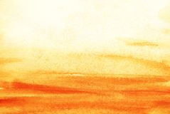 The real watercolor background. Yellow sand and yellow sky. Alle. Goric desert, Sandy sea, dust storm. Hand Drawn Watercolor on wet paper Stock Images