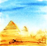 Real Watercolor sketch of Egyptian Pyramids on a blue sky. Hand stock illustration