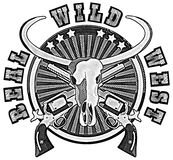 Real Wild West_engraving. Round vignette with skull of Buffalo and two guns Stock Photos