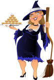 Real witch with cake.  Royalty Free Stock Photos