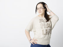 Real woman with glasses Stock Photos