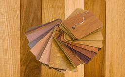 Real wood and laminated samples. On a white background stock images
