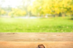 Free Real Wood Table Top Texture On Leaf Tree Garden Background Royalty Free Stock Image - 137409856