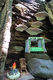 Real Woodland Fairy Home. A quaint woodland home of a tiny make-believe fairy. The bed is made and sheltered by shelf mushrooms the rocking chair is down by the Stock Photos