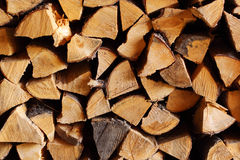 Real woodpile of firewood Stock Photos