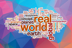 Real world word cloud with abstract background Stock Photos