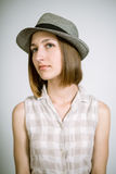 Real young girl in a hat Royalty Free Stock Images