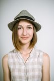 Real young girl in a hat Stock Images