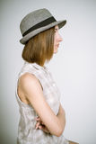 Real young girl in a hat Stock Photos