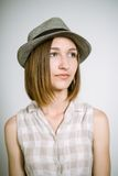 Real young girl in a hat Stock Photo