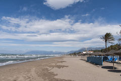 Real Zaragoza приставает к берегу на побережье Марбельи, laga ¡ MÃ Стоковые Изображения RF