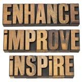Realce, mejore, inspire Foto de archivo