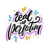 Reale nessuna perfezione Iscrizione disegnata a mano di vettore Frase di motivazione royalty illustrazione gratis