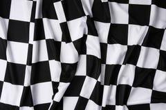 Reale wellenartig bewegende checkered Markierungsfahne Stockbild