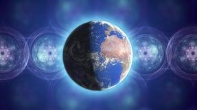 Realer Erde-Planet im Platz Stockfoto