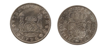 1734 8 Reales Stockfotos