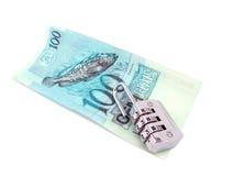 reales brasilianisches Geld 100 in geschlossenem Vorhängeschloß Lizenzfreie Stockfotografie
