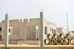 Realestate sites construction housing working for new home. Town stock photography