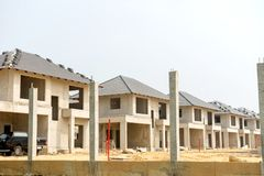 Realestate sites construction housing working for new home. Town stock photo