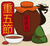 Realgar Wine, Zongzi Dumpling and Dragon for Double Fifth Festival, Vector Illustration Royalty Free Stock Images