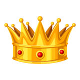 Realistic gold crown with red rubies. Illustration of award for sports or corporate competitions.  stock illustration