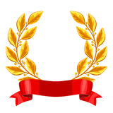 Realistic gold laurel wreath with red ribbon. Illustration of award for sports or corporate competitions Royalty Free Stock Image
