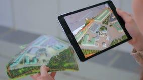 Realidade aumentada tabuleta app fotografia de stock