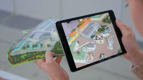 Realidade aumentada tabuleta app fotografia de stock royalty free