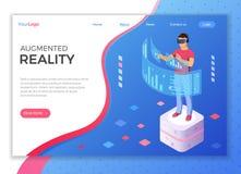 Realidade aumentada virtual isom?trica imagens de stock