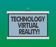Realidade virtual da tecnologia do texto da escrita Placa gerada por computador interativa da experiência do significado do conce ilustração stock