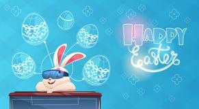 A realidade virtual dos vidros de Digitas do desgaste do coelho decorou o cartão do feriado da Páscoa dos ovos ilustração do vetor