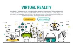 Realidade virtual - encabeçamento retangular do local ilustração do vetor