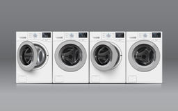 Realisic vector washers on grey background. Front view. Vector illustration of  four  washers on grey background. Front view. Cover  template or  banner design Stock Photography