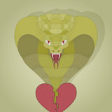 Realisitc cobra from the broken heart. symbolic painted vector illustration for your design. colorful Stock Image