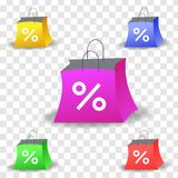 Realism style vector art with set of discount shopping bags. Vector illustration in realism 3d style with set of colorful shopping bags with discount sign Stock Image