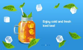 Vector illustration design template in realism style about iced tea Royalty Free Stock Image