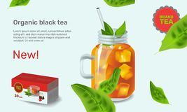 Vector illustration design template in realism style about iced tea Royalty Free Stock Photos
