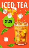 Vector illustration design template in realism style about iced tea Royalty Free Stock Photo