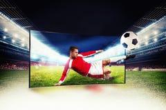Realismo della radiodiffusione di sport di immagini su televisione a alta definizione Fotografie Stock Libere da Diritti