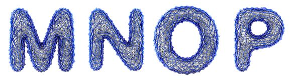 Free Realistic 3D Letters Set M, N, O, P Made Of Blue Plastic. Royalty Free Stock Photos - 178090698