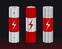 Realistic AA Type Battery. Vector Set. Illustration isolated on Black Royalty Free Stock Photography