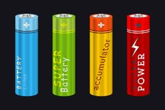 Realistic AA Type Battery. Vector Set. Illustration  on Black Stock Image
