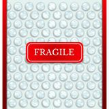 Realistic abstract bubble wrap texture background with red fragile. Sticker stock illustration