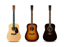 Realistic acoustic guitars. Vector set Royalty Free Stock Image