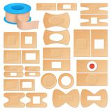 Realistic Adhesive Plasters Set. Set of realistic adhesive plasters of skin color, various shape outside and inside isolated vector illustration Stock Photography