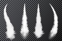 Realistic airplane condensation trails. Smoke from jet or rocket launch. Set of smoke contrails stock illustration