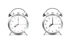 Realistic Alarm Clock.  On White Backgound Vector Illustration Royalty Free Stock Image