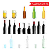 Realistic Alcoholic Drinks and beverages icon set Stock Image